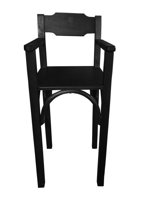 Cadeirao de Bebe de Madeira Para Bar e Restaurante Preta CBS