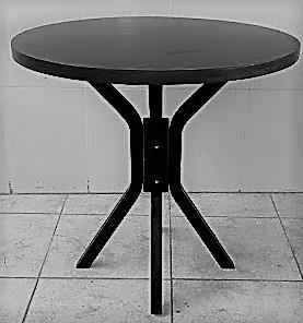 Mesa para 4 lugares de madeira Redonda 80cm Preta MFAR800
