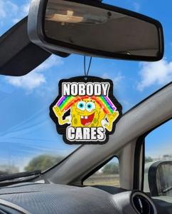Aromatizante personalizado para carro - Bob Esponja - Nobody Cares