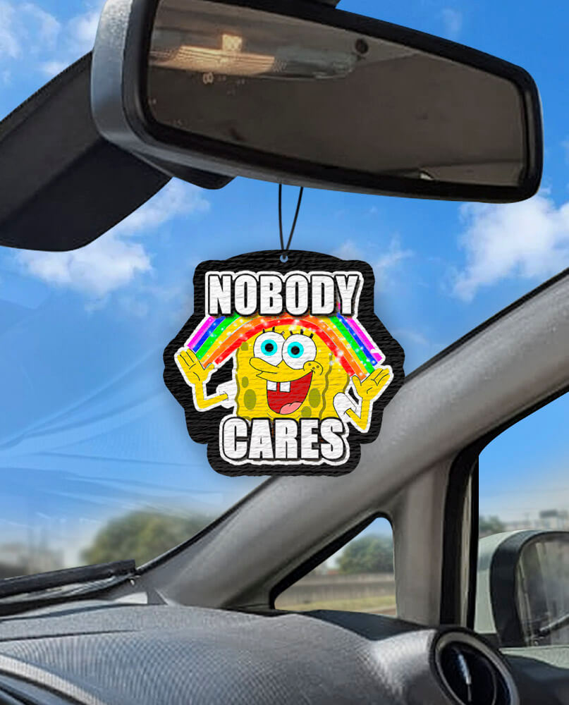 Aromatizante personalizado para carro - Bob Esponja - Nobody Cares  - Aromatizacar