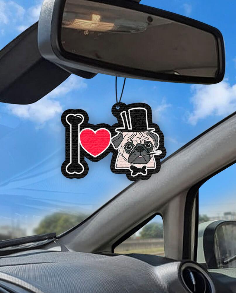 Aromatizante personalizado para carro - I Love Pug
