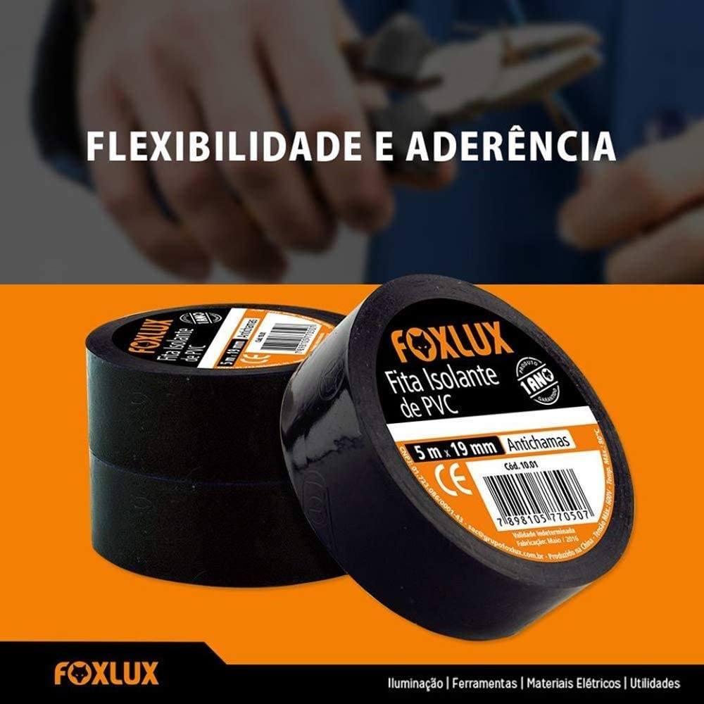 Fita Isolante antichamas profissional 19mm 05 mts / 10 mts / 20 mts Preta - FoxLux