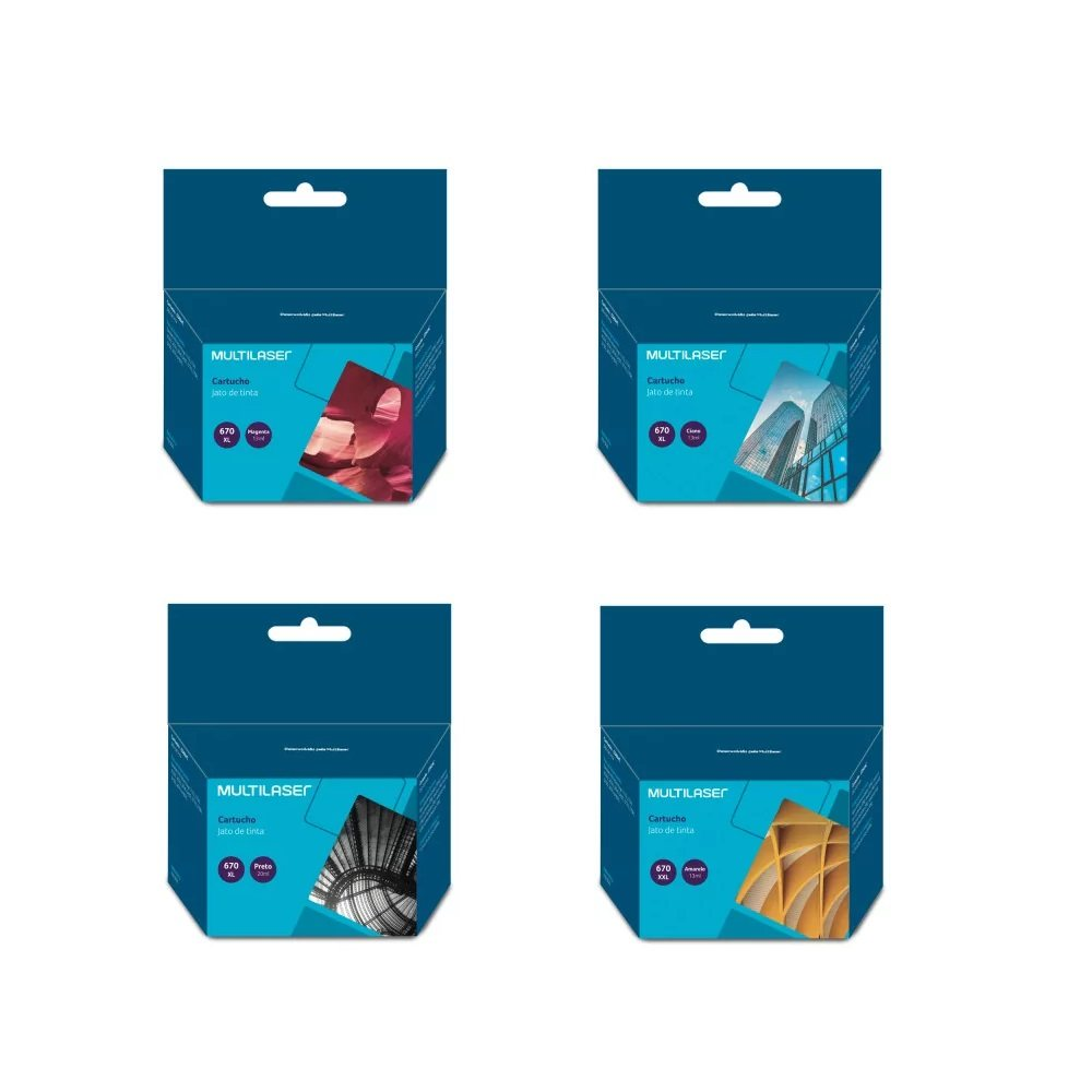 Kit Multilaser 4 Cartucho 670xl compativel - Ink Advantage 3525 4615 4625 5525