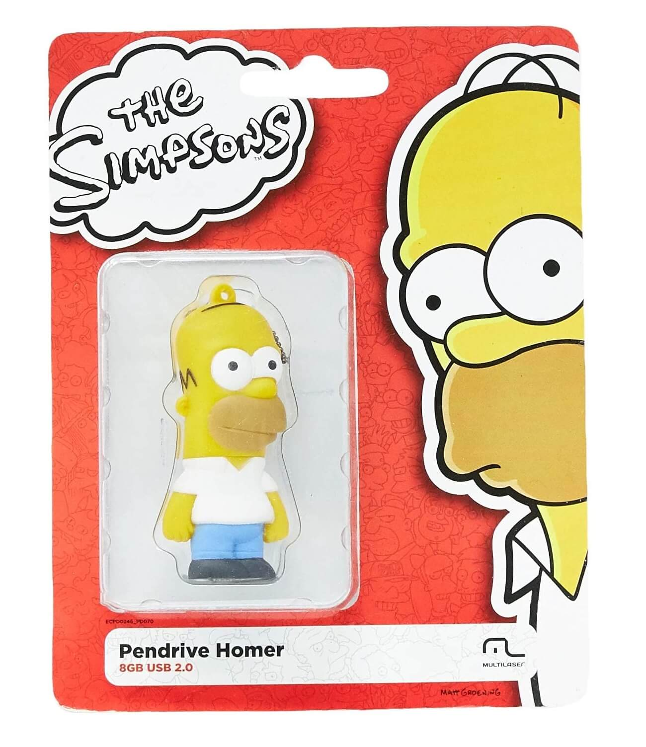Pen Drive Homer Simpsons 8GB USB Leitura 10MB/s e Gravação 3MB/s Multilaser PD070