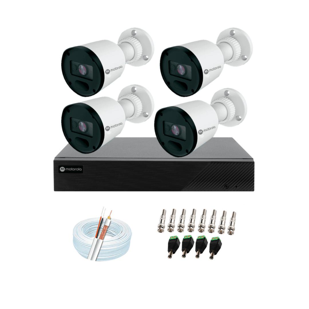 Kit 4 Câmeras Bullet 2MP 1 DVR 4 Canais Híbrido Cabos e Acessórios