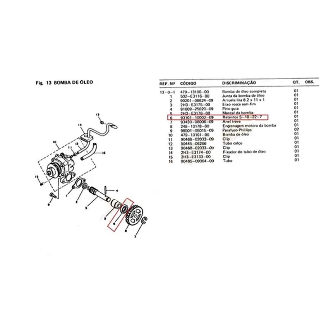 RETENTOR BOMBA DE ÓLEO RD135/RX135/DT180 EIXO EXTERNO