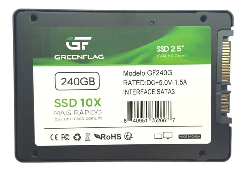 Ssd 240 Gb Disco Sólido Interno Greenflag Sata Gf-240g