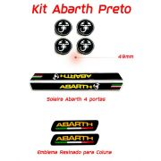 Kit Resinado Abarth Soleira Emblema e Centro Roda Preto
