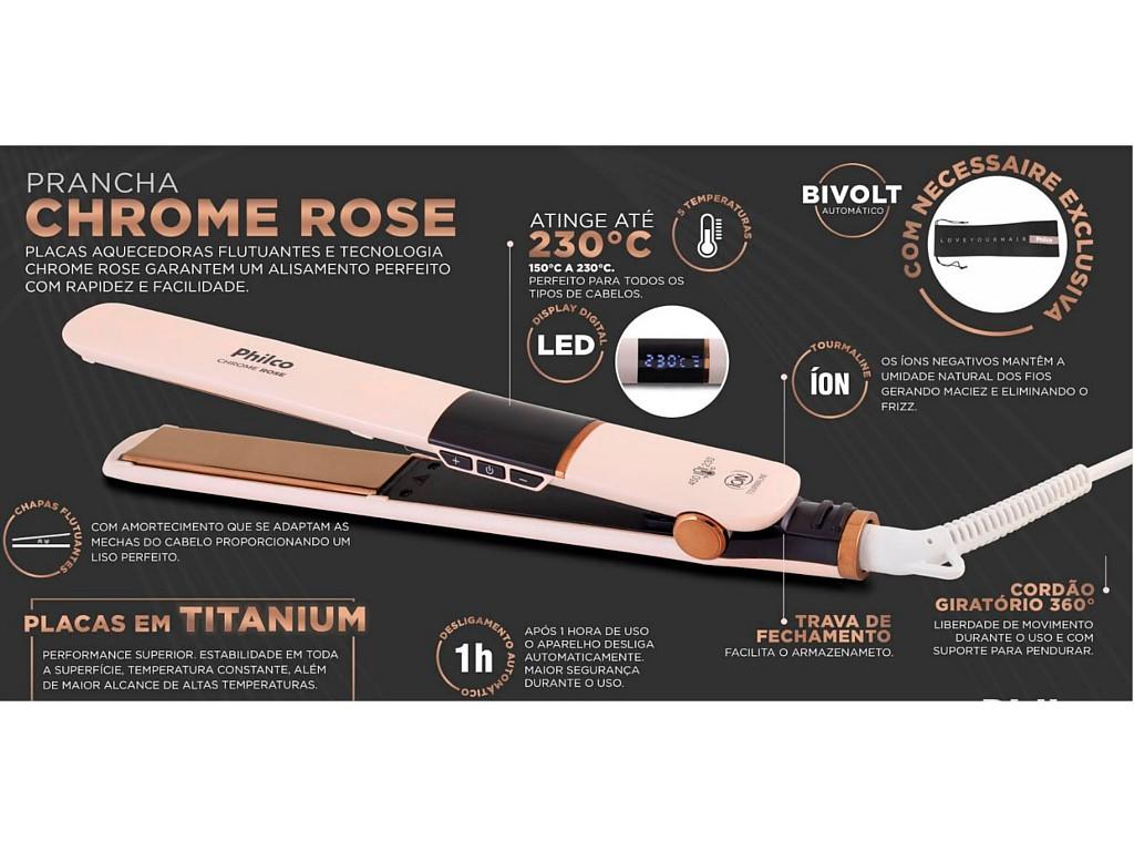 Prancha Philco Chrome Rose Ppr10