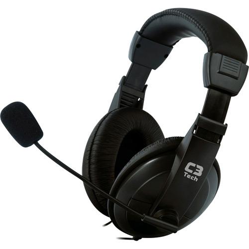 Fone Ouvido Headset com Microfone Voicer Confort Preto C3 Tech