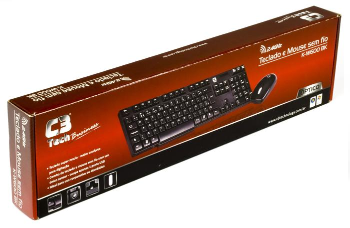Teclado e Mouse Sem Fio 2.4GHZ K-W600 BK - C3 TECH