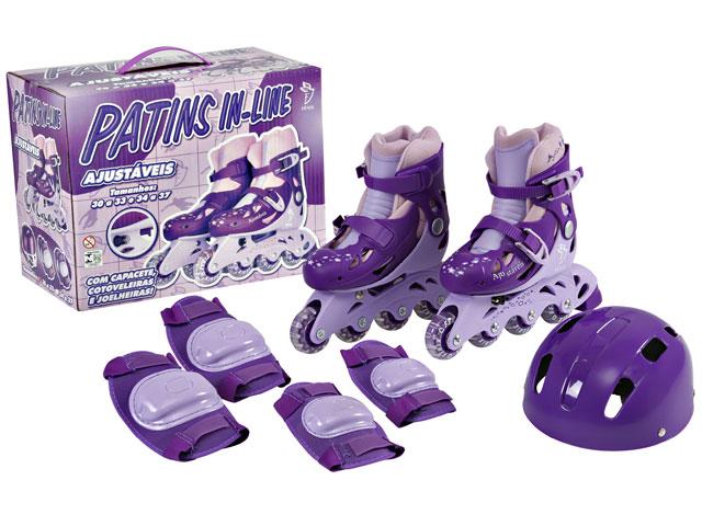 Patins In-Line Ajustáveis com Kit Segurança 34 ao 37 Roxo - Fenix Brinquedos