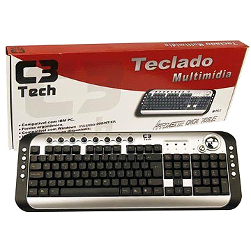 Teclado Multimídia PS2 KB1200 PT/PTA - C3 Tech
