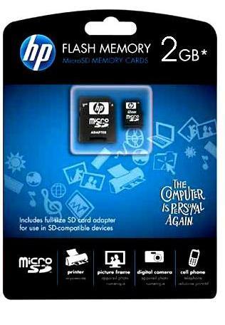 Cartão de Memória Micro SD 2GB com Adaptador SD HP - L181A-EF