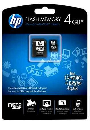 Cartão de Memória Micro SDhc 4GB com Adaptador SDhc HP - L1882A-EF