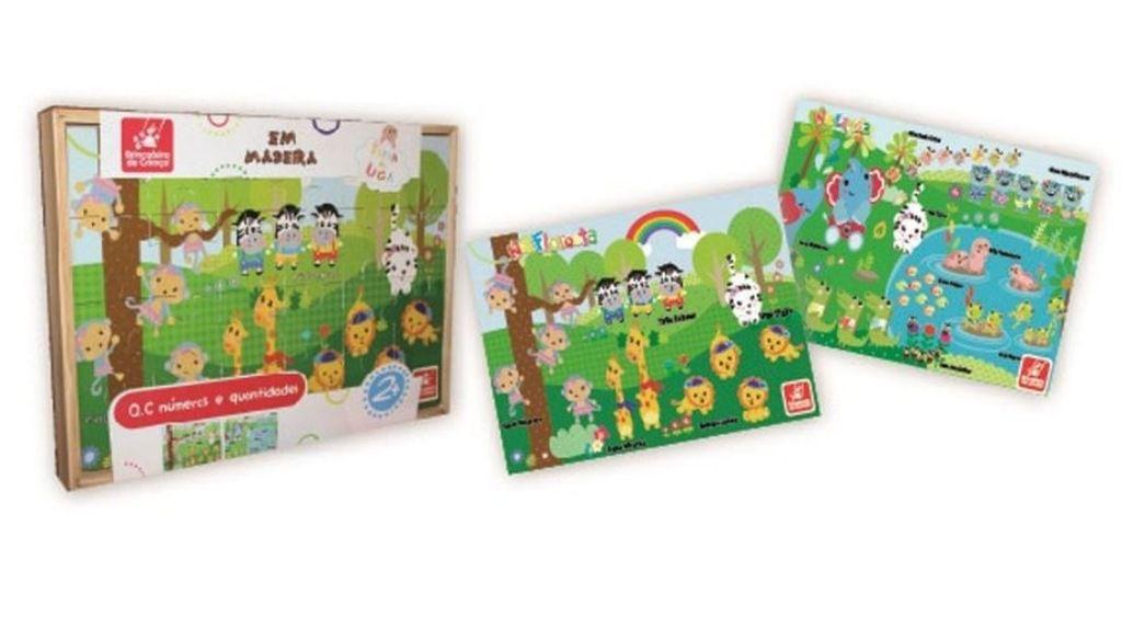 2 Quebra-cabeças Números e Quantidades Turma da UGA em Madeira 24 Peças - Brincadeira de Criança
