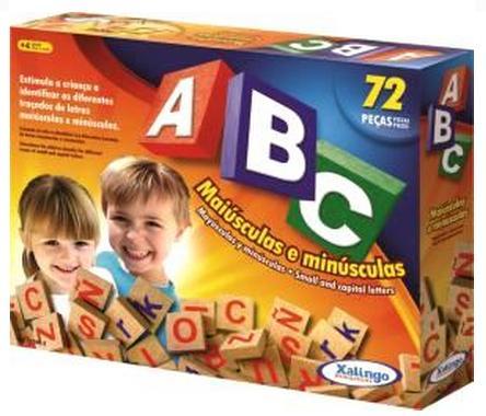 Jogo ABC Maiúsculas e Minúsculas em Madeira 72 Peças - Xalingo
