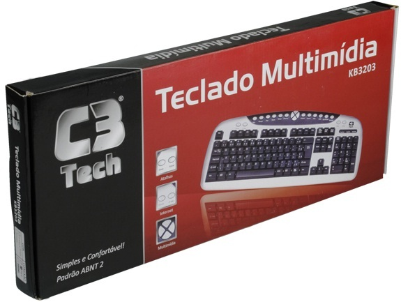 Teclado Multimídia PS2 KB3203 - C3 Tech