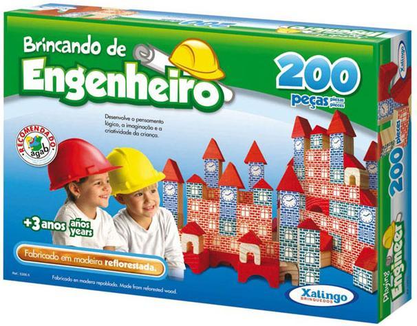 Jogo Brincando de Engenheiro 200 Peças em Madeira - Xalingo