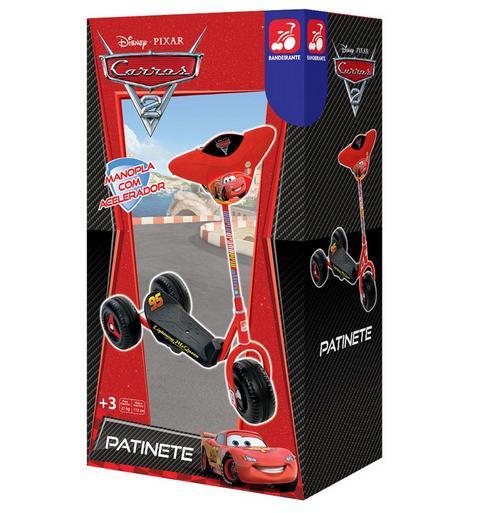 Patinete Cars 2 Vermelho 3 Rodas - Bandeirante