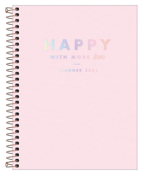 Agenda Planner Espiral Happy Rosa 2021 - Tilibra
