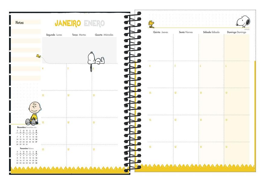 Agenda Planner Espiral Snoopy 2021