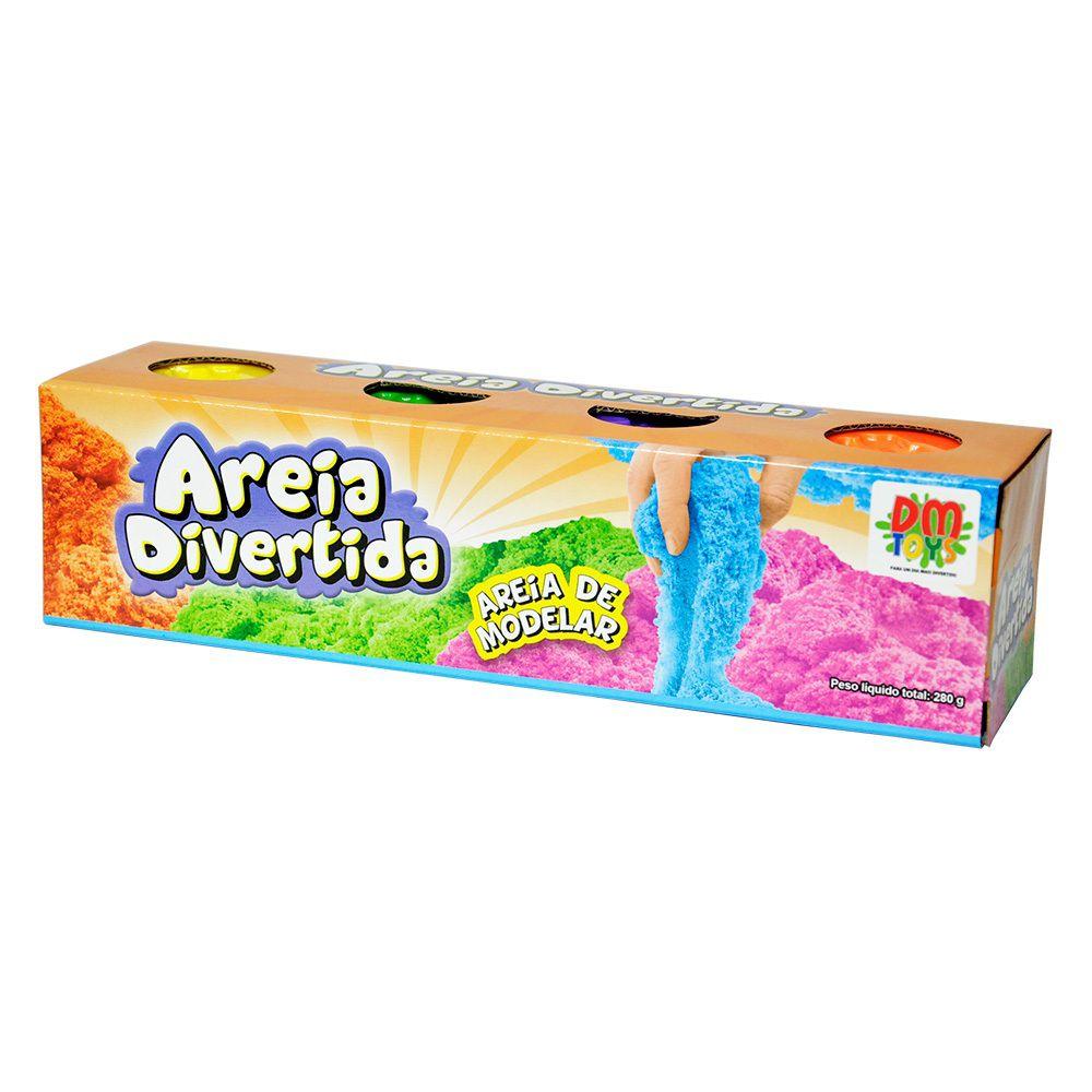 Areia Divertida 4 Potes Cores Sortidas - Dm Toys