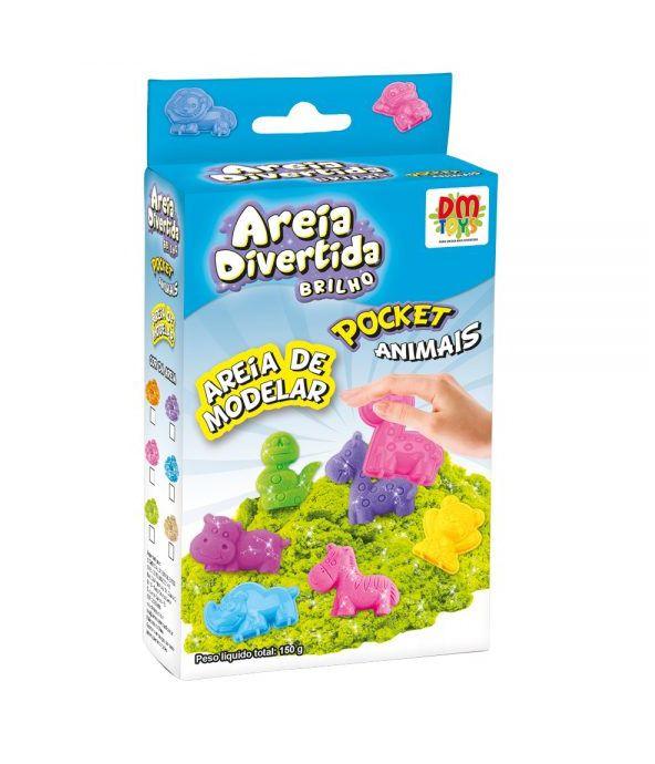Areia Divertida com Brilho Pocket Animais Sortidos - Dm Toys