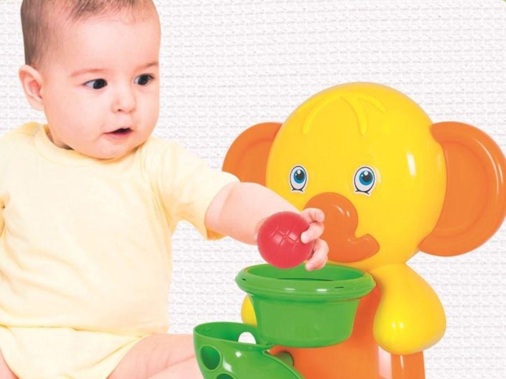 Basquete Elefantinho Play Time Laranja e Amarelo - Cotiplás
