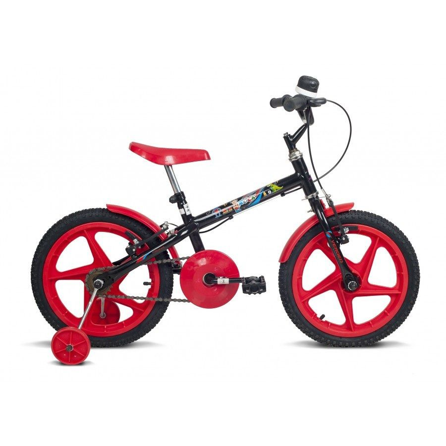 Bicicleta Aro 16 Rock Preta e Vermelha - Verden Bikes