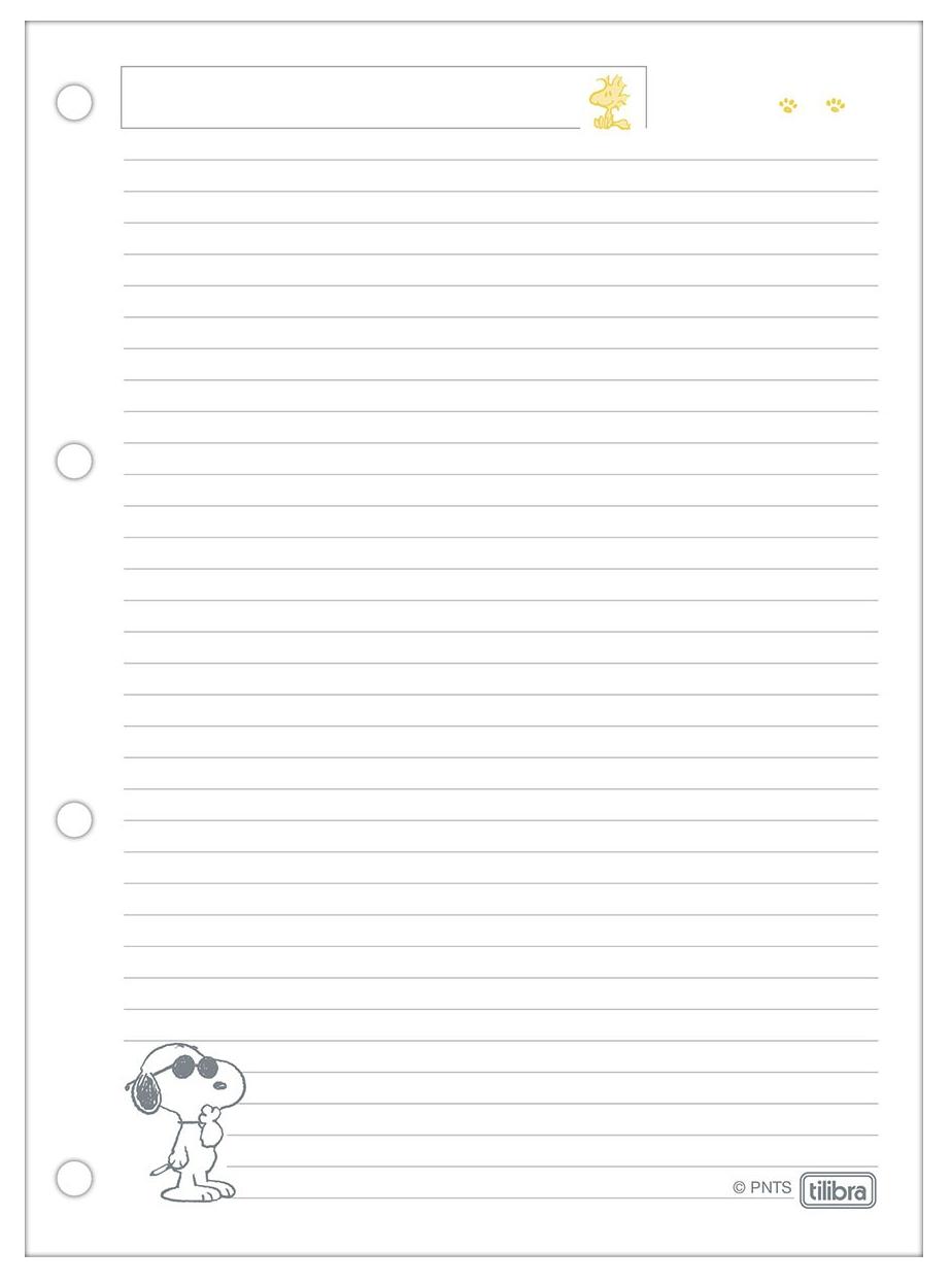 Bloco de Fichário Cartonado Universitário 80 Folhas Snoopy- Tilibra