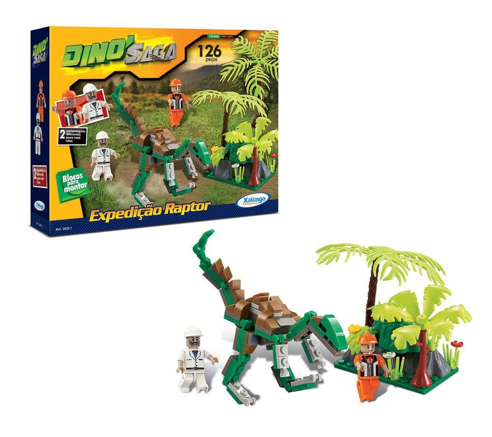 Blocos de Montar Dino Saga Expedição Raptor 126 Peças - Xalingo