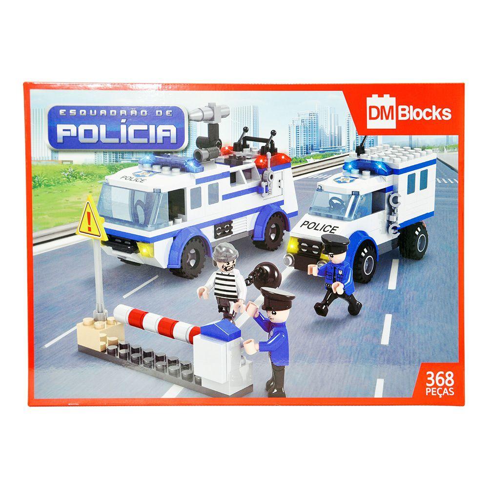 Blocos de Montar Dm Blocks Esquadrão de Polícia 368 Peças - Dm Toys