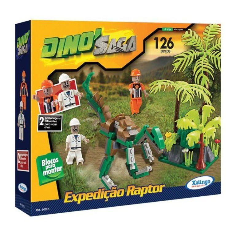 Blocos para Montar Dino Saga Expedição Raptor 126 Peças - Xalingo