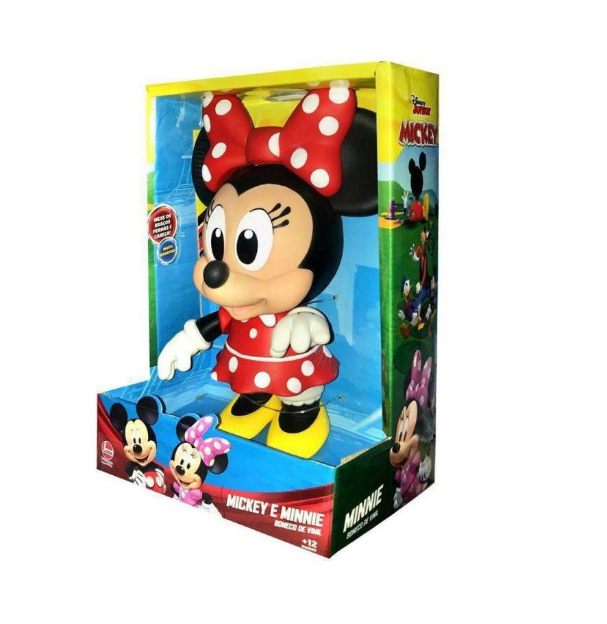 Boneca de Vinil Disney Junior Minnie Mouse Articulada - Lider Brinquedos