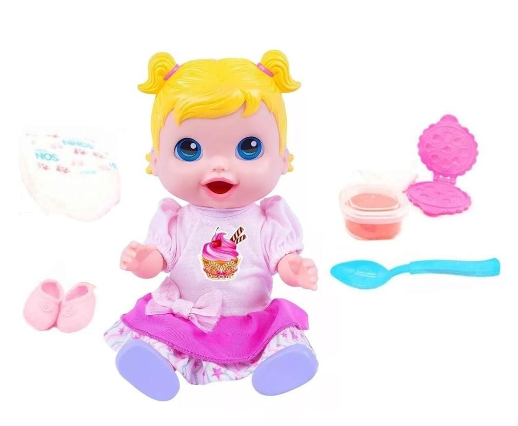 Boneca Baby's Collection Comidinha Rosa - Super Toys