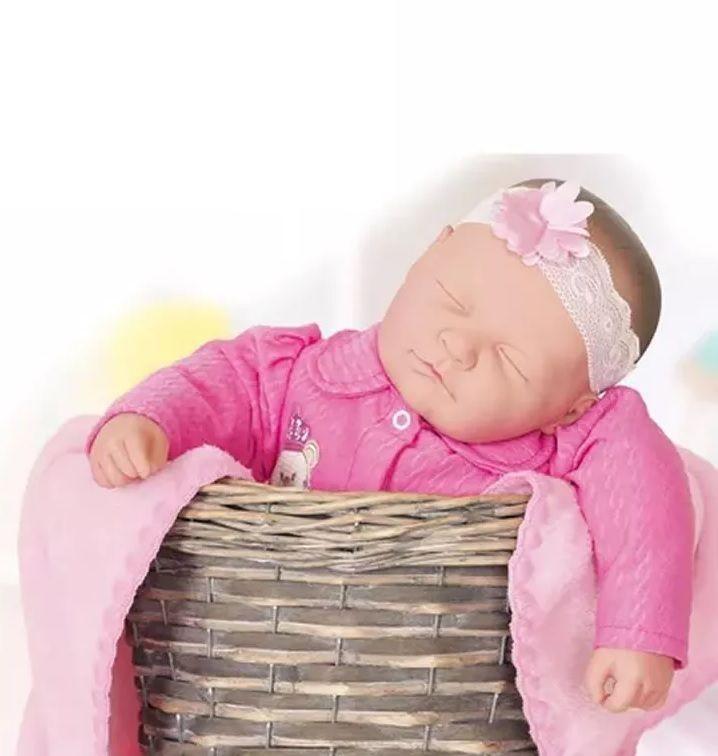 Boneca Coleção Ninos Reborn Sons de Bebê Dormindo - Cotiplás