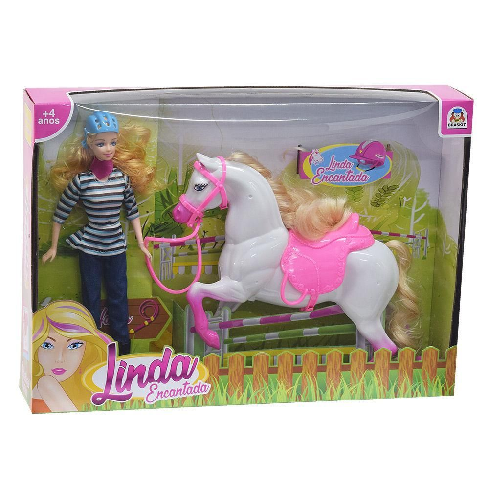 Boneca Linda Encantada com Cavalo - Braskit