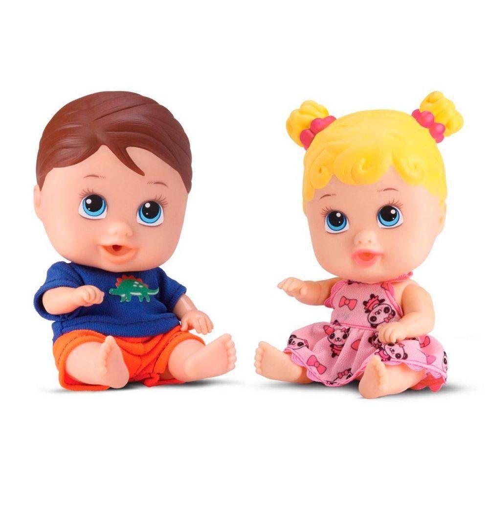 Boneca Little Dolls Gêmeos com Boneco - Diver Toys