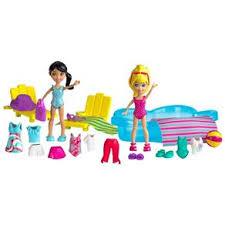 Boneca Polly Pocket Estações da Polly - Diversão na Chuva/ Diversão na Piscina - Mattel