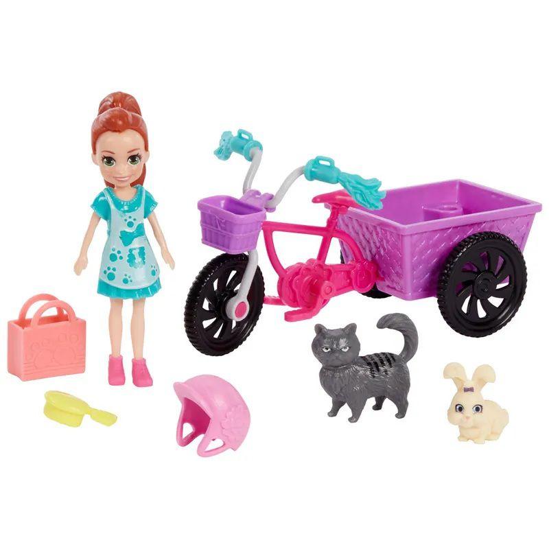 Boneca Polly Pocket Lila Bicicleta Aventura com Bichinho - Mattel