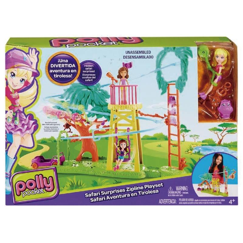 Boneca Polly Pocket Surpresa Safári Playset Diversão na Tirolesa - Mattel