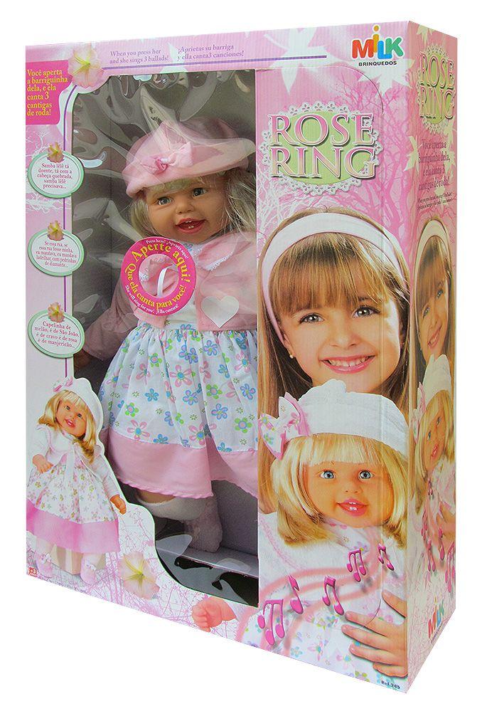 Boneca Rose Ring Canta 3 Cantigas - Milk Brinquedos