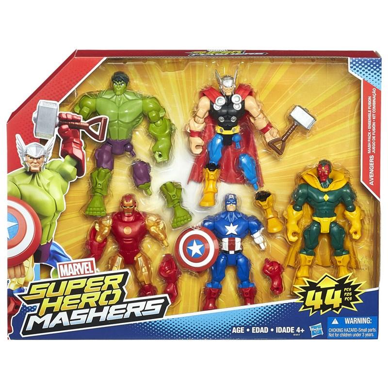 Bonecos Marvel Super Hero Marshers Iron Man, Thor, Hulk, Capitão América e Vision - Hasbro