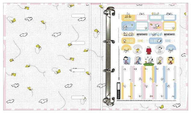 Caderno Argolado Cartonado Universitário com Elástico Snoopy - Tilibra