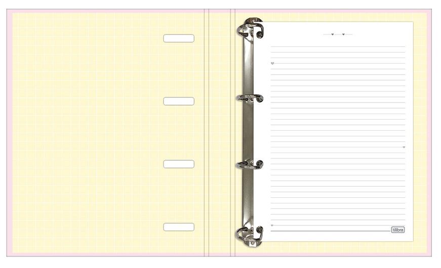 Caderno Argolado Cartonado Universitário com Elástico Happy Rosa - Tilibra