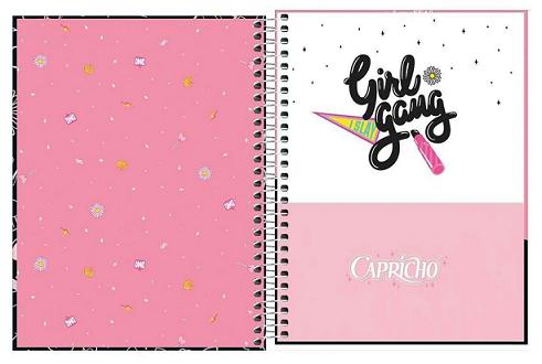 Caderno Espiral Capa Dura Colegial 10 Matérias Capricho - Tilibra