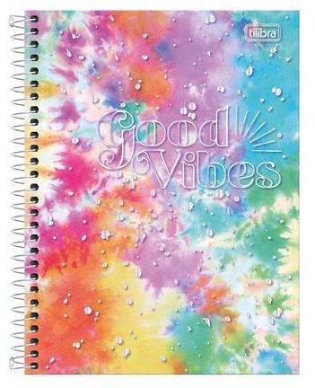 Caderno Espiral Capa Dura Colegial 10 Matérias Good Vibes - Tilibra