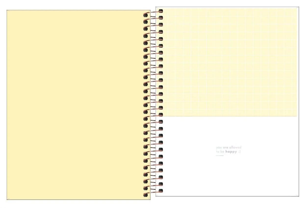 Caderno Espiral Capa Dura Colegial 10 Matérias Happy Amarelo - Tilibra