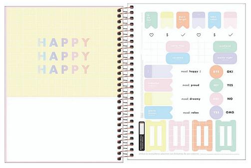 Caderno Espiral Capa Dura Colegial 10 Matérias Happy Rosa - Tilibra